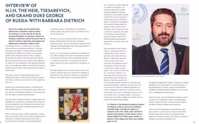 Interview of H.I.H. the Heir, Tsesarevich, and Grand Duke George of Russia with Barbara Dietrich, CEO of the magazine Diplomatic World